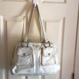 Vintage white leather Prada Shoulder Bag